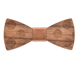 Wood Fashion by PN: Men's Wooden Bow Ties - Dalmatian - Gold Leather