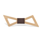 Wood Fashion by PN: Men's Wooden Bow Ties - Thunder Light - Brown Denim