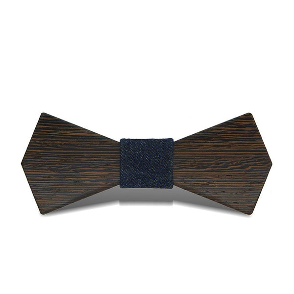 Wood Fashion by PN: Men's Wooden Bow Ties - Arrow Dark - Blue Denim