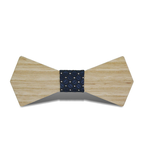 Wood Fashion by PN: Men's Wooden Bow Ties - Arrow Light - Blue Lattice