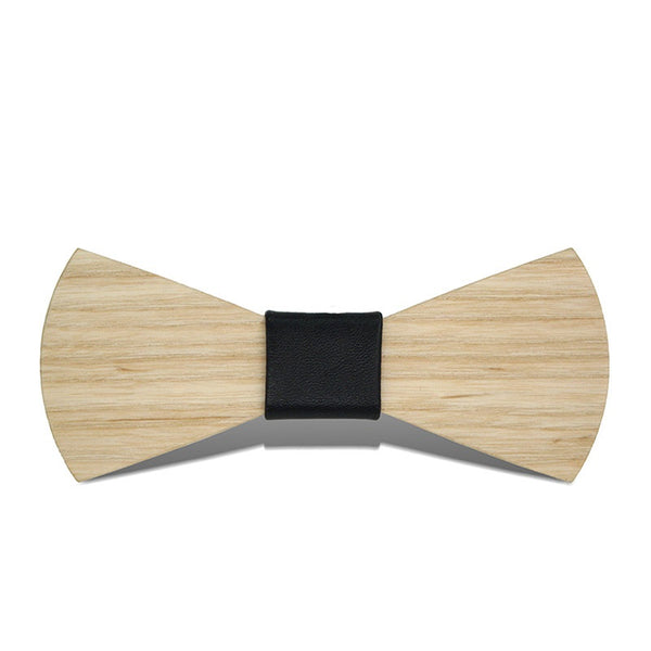 Wood Fashion by PN: Men's Wooden Bow Ties - Sector Light - Black Leather