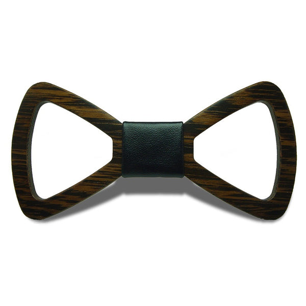 Wood Fashion by PN: Men's Wooden Bow Ties - Hollow Dark - Black Leather