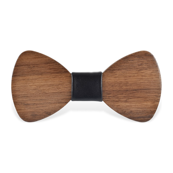 Wood Fashion by PN: Men's Wooden Bow Ties - Bear Light - Black Leather
