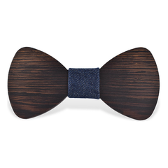 Wood Fashion by PN: Men's Wooden Bow Ties - Bear Dark - Blue Denim