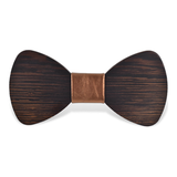 Wood Fashion by PN: Men's Wooden Bow Ties - Bear Dark - Gold Leather