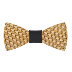 Wood Fashion by PN: Men's Wooden Bow Ties - Cube - Black Leather