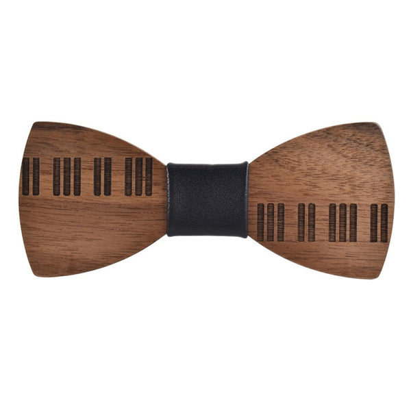 Wood Fashion by PN: Men's Wooden Bow Ties - Piano Light - Black Leather