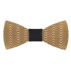 Wood Fashion by PN: Men's Wooden Bow Ties - Hypnotize - Black Leather