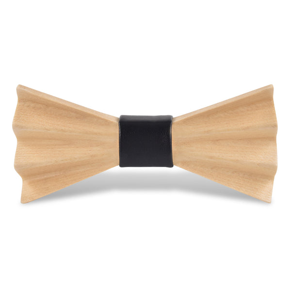Wood Fashion by PN: Men's Wooden Bow Ties - Harmony Light - Black Leather