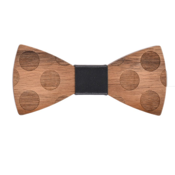 Wood Fashion by PN: Men's Wooden Bow Ties - Dalmatian - Black Leather