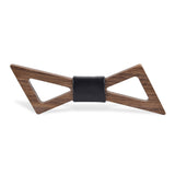 Wood Fashion by PN: Men's Wooden Bow Ties - Thunder Dark - Black Leather
