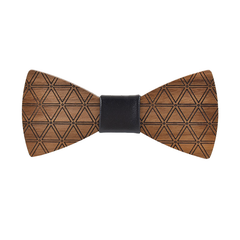 Wood Fashion by PN: Men's Wooden Bow Ties - Pyramid - Black Leather