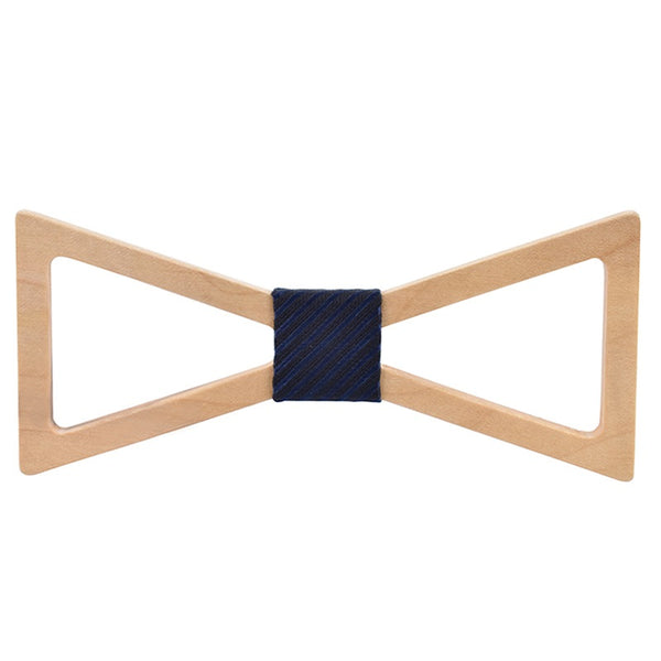 Wood Fashion by PN: Men's Wooden Bow Ties - Sandglass - Blue Stripe