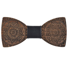 Wood Fashion by PN: Men's Wooden Bow Ties - Pharaon - Black Leather