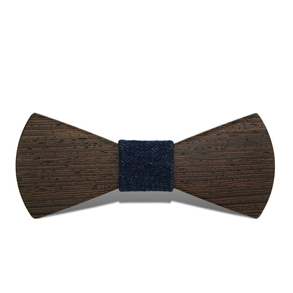 Wood Fashion by PN: Men's Wooden Bow Ties - Sector Dark - Blue Denim