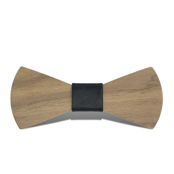 Wood Fashion by PN: Men's Wooden Bow Ties - Sector Natural - Black Leather