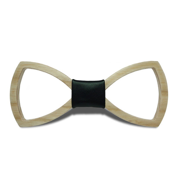 Wood Fashion by PN: Men's Wooden Bow Ties - Ribbon Light - Black Leather
