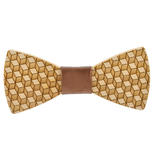 Wood Fashion by PN: Men's Wooden Bow Ties - Cube - Gold Leather