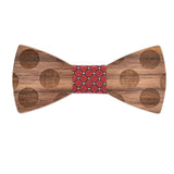 Wood Fashion by PN: Men's Wooden Bow Ties - Dalmatian - Red Lattice
