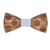 Wood Fashion by PN: Men's Wooden Bow Ties - Dalmatian - White Denim