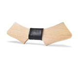 Wood Fashion by PN: Men's Wooden Bow Ties - Chopper Light - Black Leather
