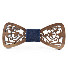 Wood Fashion by PN: Men's Wooden Bow Ties - Star Ivy Dark - Blue Denim