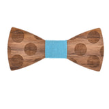 Wood Fashion by PN: Men's Wooden Bow Ties - Dalmatian - Sky Denim