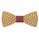 Wood Fashion by PN: Men's Wooden Bow Ties - Cube - Red Lattice