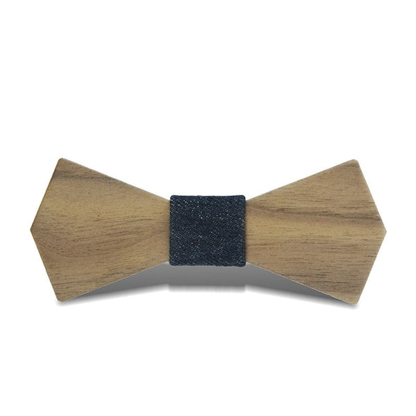 Wood Fashion by PN: Men's Wooden Bow Ties - Arrow Natural - Blue Denim