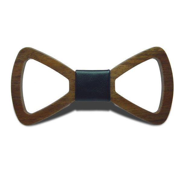 Wood Fashion by PN: Men's Wooden Bow Ties - Hollow Light - Black Leather