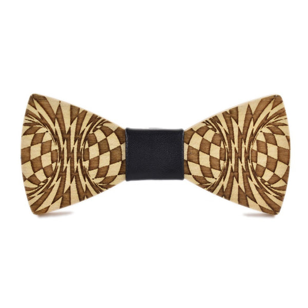 Wood Fashion by PN: Men's Wooden Bow Ties - Distortion - Black Leather