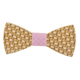 Wood Fashion by PN: Men's Wooden Bow Ties - Cube - Pink Lattice