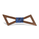Wood Fashion by PN: Men's Wooden Bow Ties - Thunder Dark - Blue Paisley