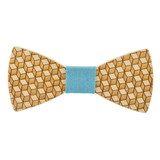 Wood Fashion by PN: Men's Wooden Bow Ties - Cube - Sky Denim