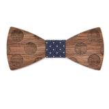 Wood Fashion by PN: Men's Wooden Bow Ties - Dalmatian - Blue Lattice