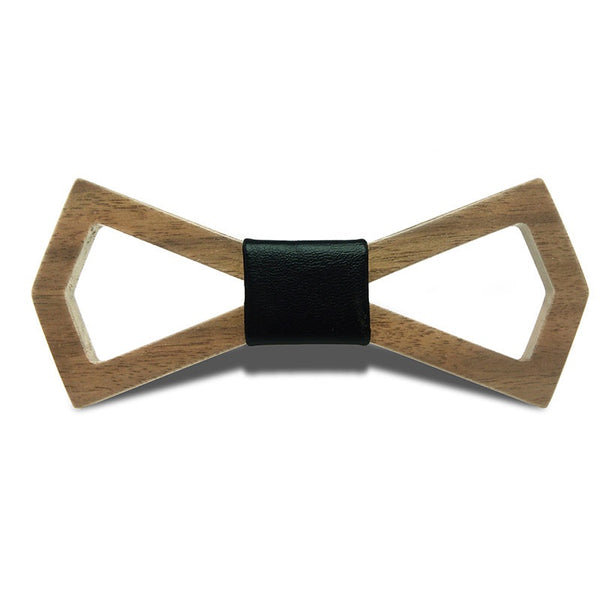 Wood Fashion by PN: Men's Wooden Bow Ties - Diamond Dark - Black Leather