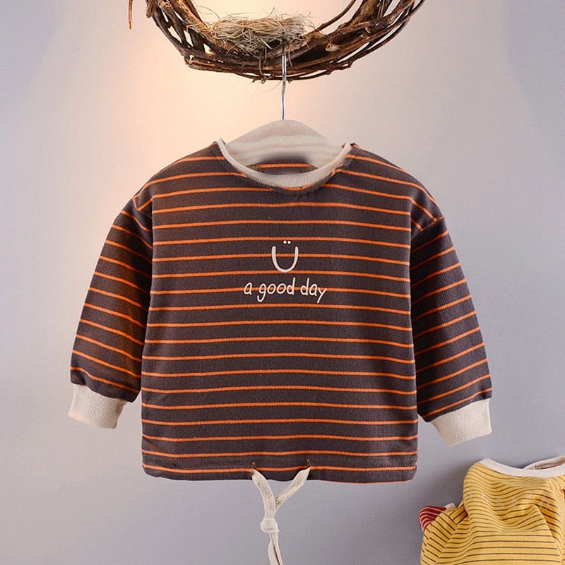 Baby Girls O-neck striped letter pullover Tops