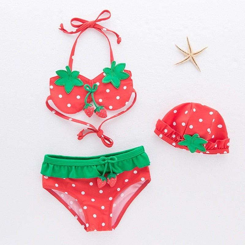 Girls Dot Strawberry Bikini Swimwear