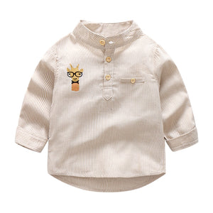 Boys Long Sleeve Chines Collar Striped Shirts