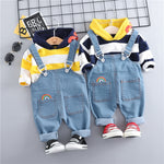 Hooded Stripped T-shirt & Jeans Clothing Set