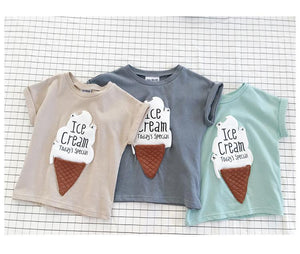 Ice cream printed short sleeve cotton Tees