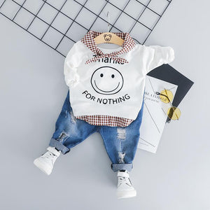 Baby Suit Smiley face T Shirt Jeans Clothes Set