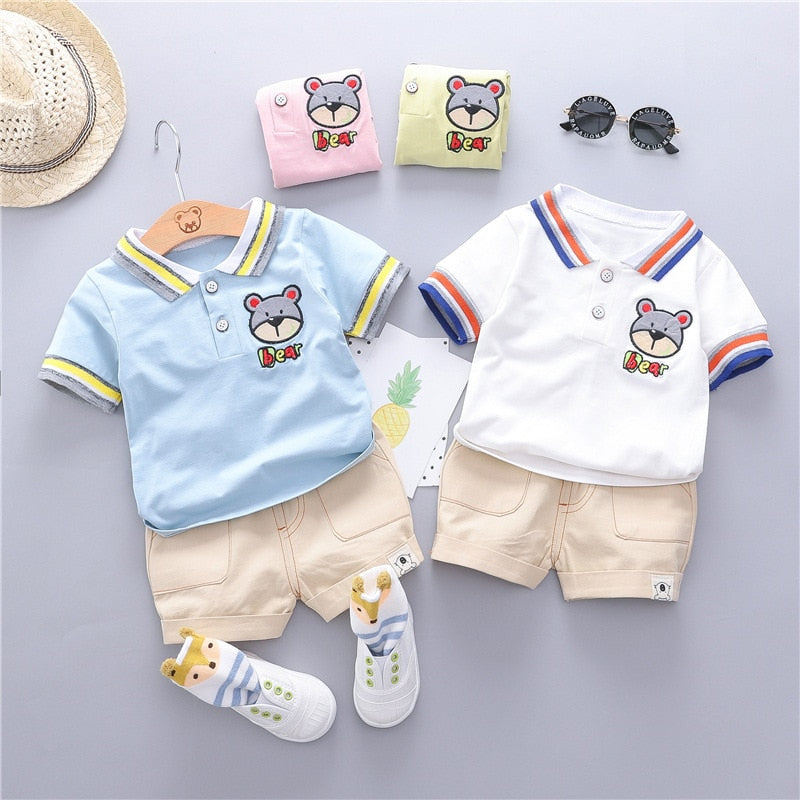 Summer Cotton Short Sleeve Cartoon Lapel Clothing Set