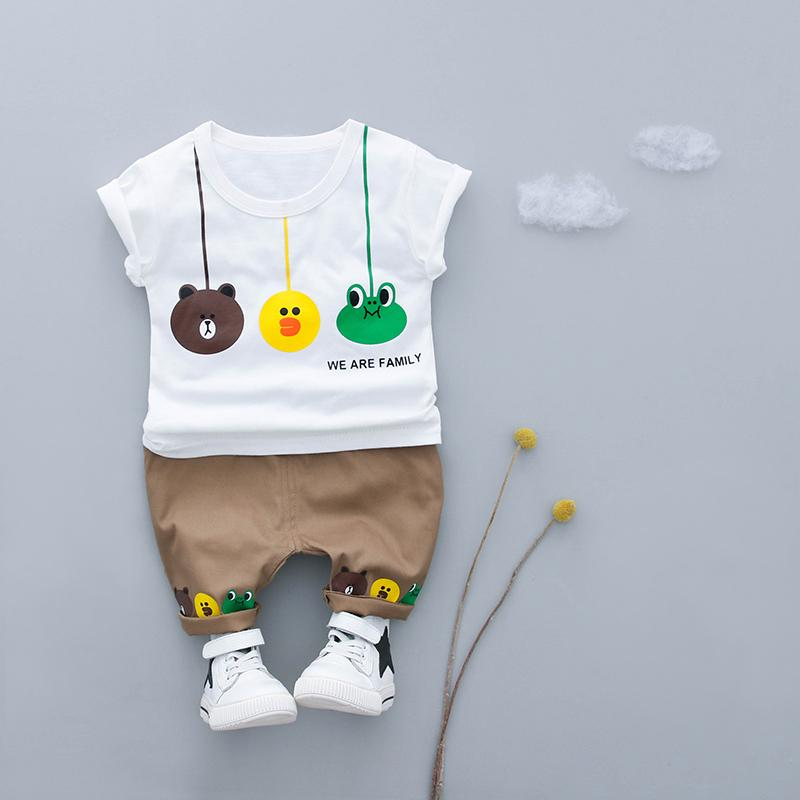 Kids Cotton Cartoon Design T-shirt+ Shorts/Set