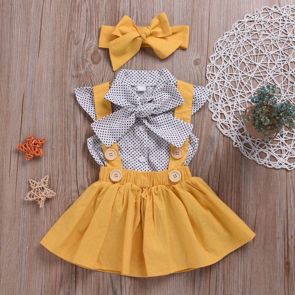 Summer Dot flying sleeve top+strap dress Clothing Suit