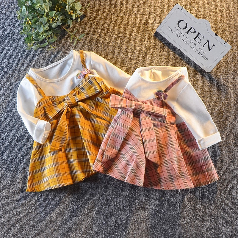 Girls plaid bow princess frock