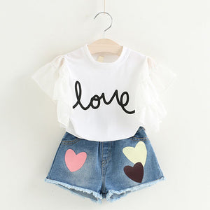 Girls Frill Love Top & Shorts Clothing Set