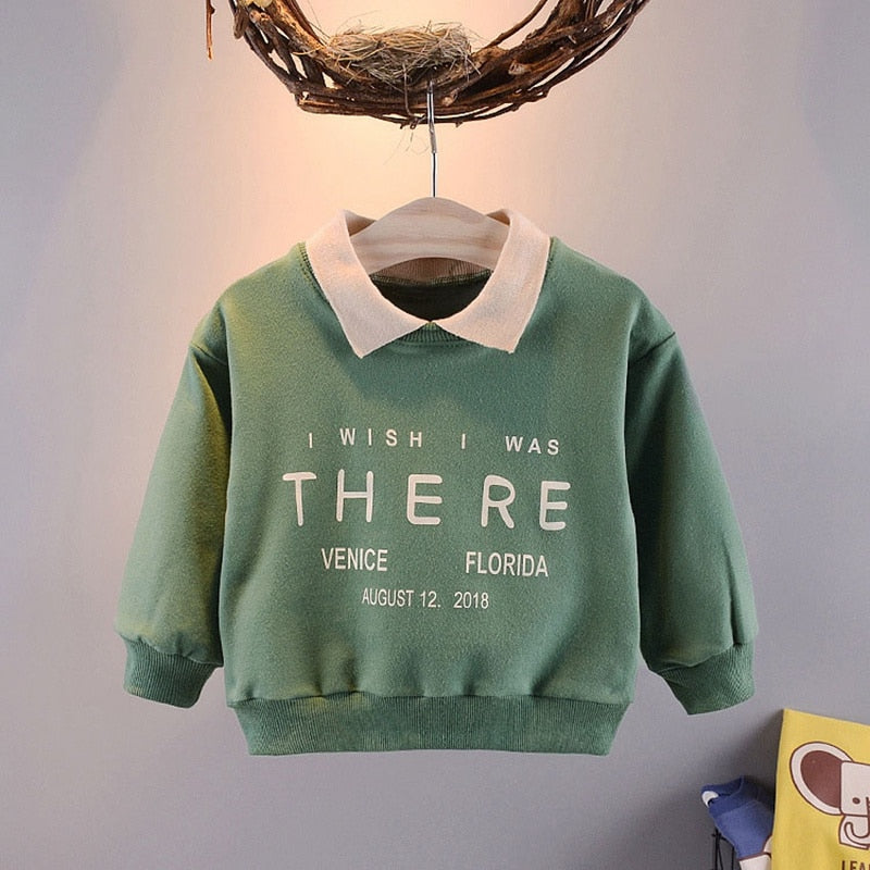 Baby boys cute simple letter print pullover T-shirt