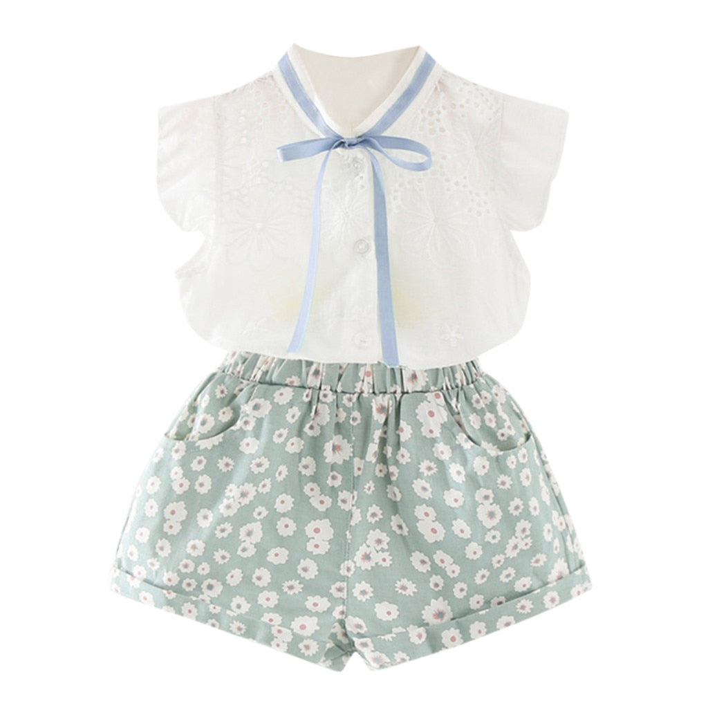 Baby Girl Hollow Bow Clothing Set