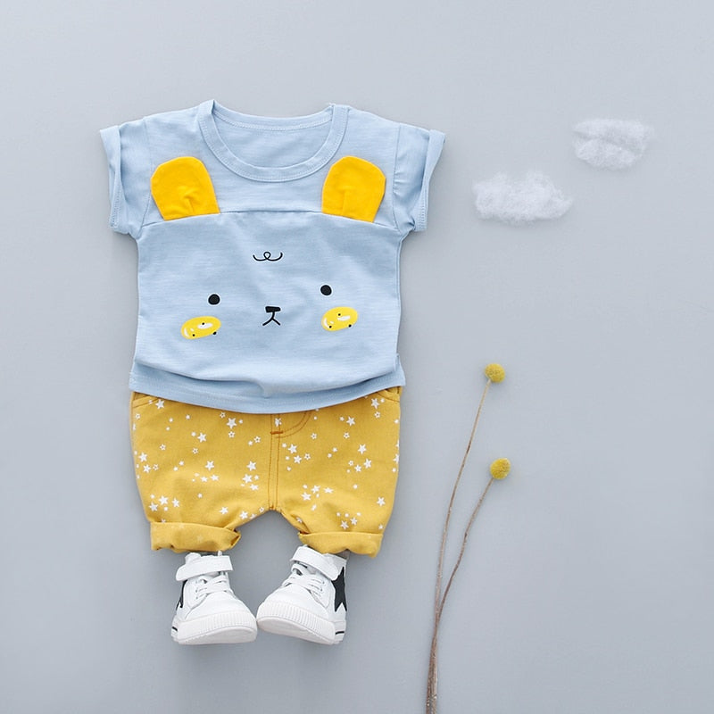 Baby Cartoon Cotton Star Shorts Clothing Set